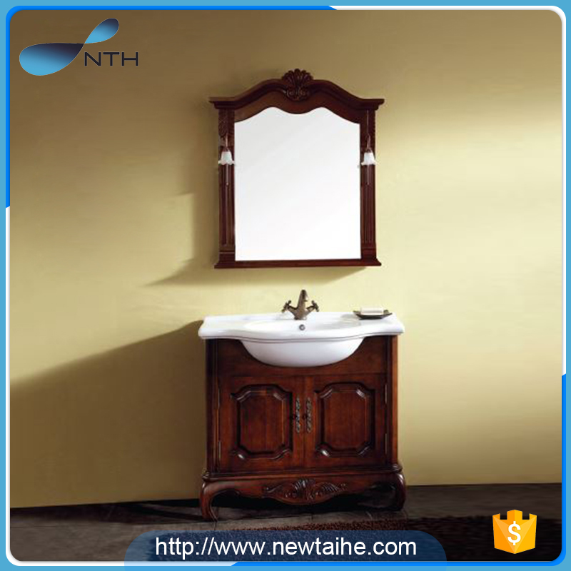 NTH high end solid wood luxury poland antique bathroom furniture with cabinet