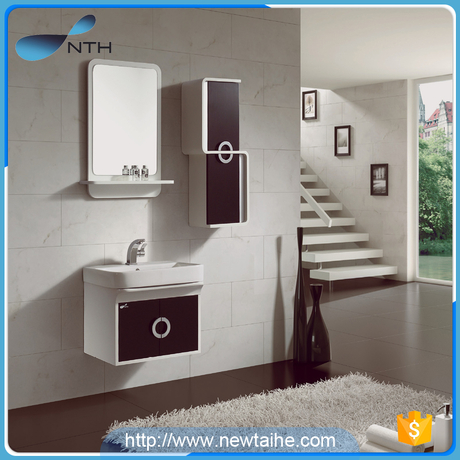 NTH China wholesale Wall-mounted waterproof acrylic solid wood pvc bathroom cabinet