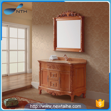Classic mirror solid wooden bathroom cabinet